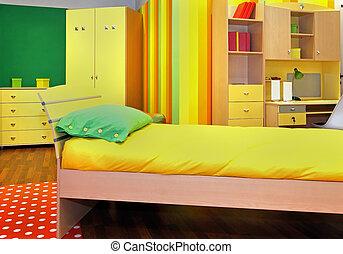 kamer, gele, kind