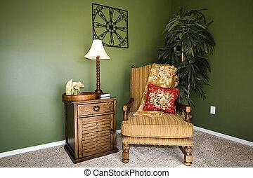 kamer, gezin, stander, nacht, stoel, lezende