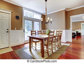 kamer, hardwood., kers, groot, het dineren, helder, beige