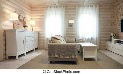 kamer, interieur, levend, openhaard