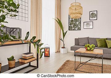 kamer, interieur, met, planten