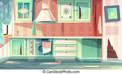kamer, keuken, overstroming, vector, vieze , provence