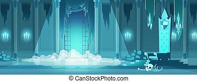 kamer, koning, kasteel, troon, kwaad, spotprent