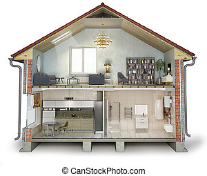 kamer, levend, gedeelte, woning, illustratie, aanzicht, badkamer, kruis, keuken, 3d