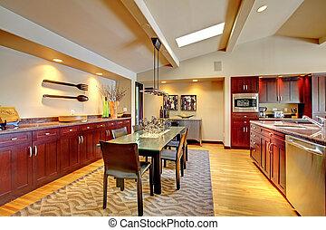 kamer, mahonie, moderne, kitchen., het dineren, luxe