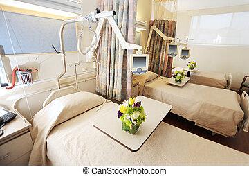 kamer, met, bedden, in, ziekenhuis