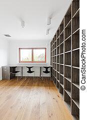 kamer, met, boek shelves