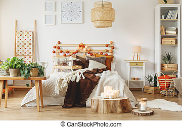 kamer, met, fris, planten