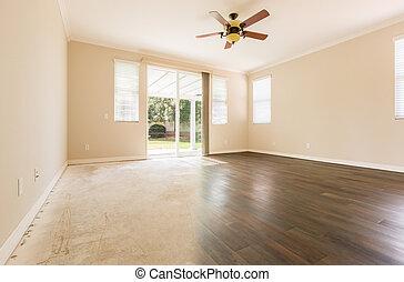 kamer, met, gradatie, van, cement, om te, loofhout, bevloering