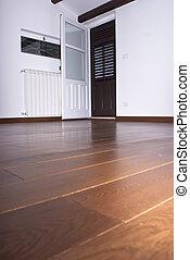 kamer, met, hardwood vloert