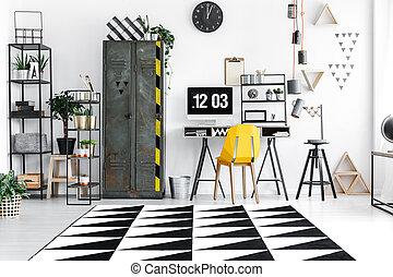 kamer, met, industriebedrijven, meubel