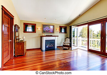 kamer, met, mooi, chery, parket, en, fireplace.