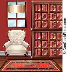 kamer, met, wite leunstoel, en, bookshelves