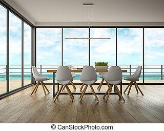 kamer, moderne, vertolking, ontwerp, zee, inwendig...