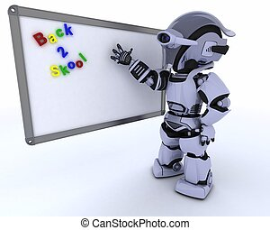 kamer, robot, plank, teken, drywipe, witte , stand