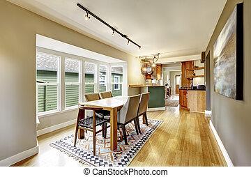 kamer, romig, houten, set., het dineren, tonen, tafel, cozy