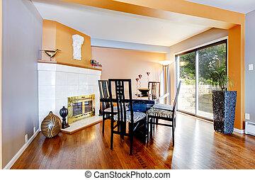 kamer, sinaasappel, vuur, vloer, dinning, loofhout, paint., interieur, plek, witte