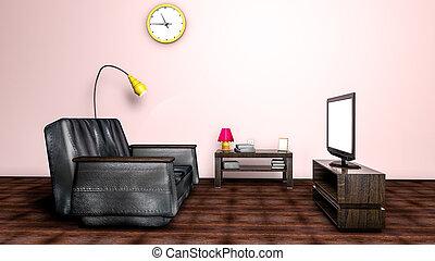 kamer, sofa, vertolking, tv., interieur, 3d