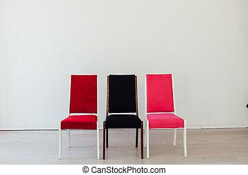 kamer, stoelen, lege, stander, witte , drie