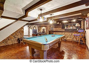 kamer, thema, kasteel, amusement, walls., ontwerp, rots