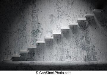 kamer, trap, licht, vlek, oplopend, donker, opstand, ruige , trap, lege