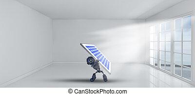 kamer, vensters, binnen, robot, zonne, vasthouden, paneel, lege, 3d