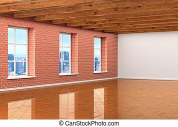 kamer, vensters, ceilings., groot, vloeren, parket, illustraties, wood-beamed, lege, 3d