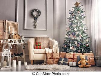 kamer, verfraaide, voor, kerstmis