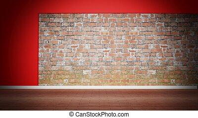 kamer, verweerd, vloer, muur, houten, interieur, baksteen,...