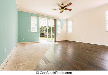 kamer, vloer, gedeelte, na, kruis, verf , hout, nieuw, het tonen, lege, voor