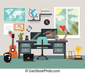 kamer, werkplaats