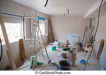 kamer, woning, binnen, verbeteringen, verward, bouwsector