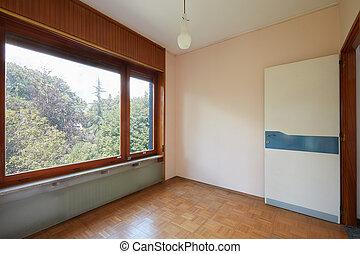 kamer, woning, groot, venster, land, interieur, lege