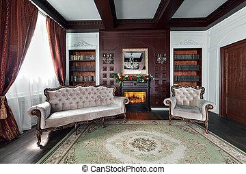 kamer, zittende , elegant, luxe, interieur, thuis, library., meubel