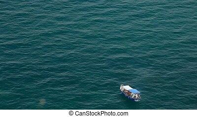 kamera, azur, hav, båt, hög