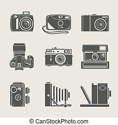 kamera, färsk, och, retro, ikon