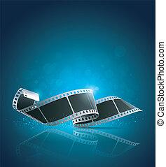 kamera filma, rulle, blåttbakgrund