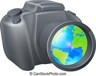 kamera, klode, begreb