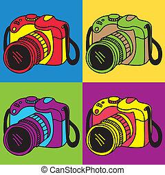 kamera, konst, pop