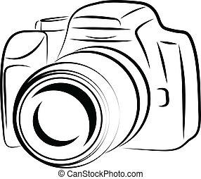 kamera, kontur, teckning