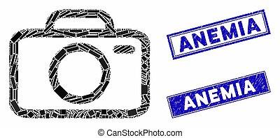 kamera, mosaik, grunge, rektangel, vattenstämpel, anemi