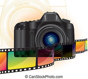 kamera, og, film