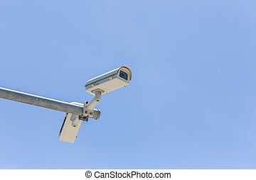 kamera security, blå himmel, to