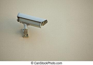 kamera security, på, mur, i, moderne bygge
