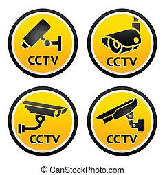 kamera security, pictogram, sæt, cctv, tegn