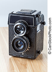 kamera, staromódní, closeup