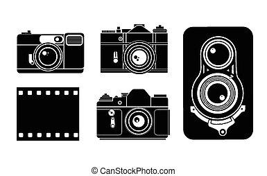 kamera, vektor, ilustrace