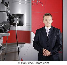 kamera video, i, telewizyjny sprawozdawca