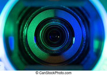 kamera video, linser