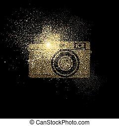 kamera, zlatý, třpytit se, pojem, znak, ilustrace